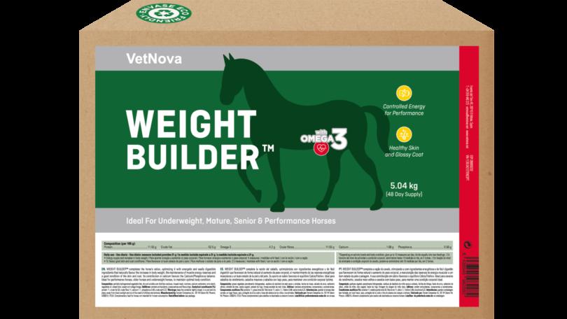 A VetNova apresentou a nova referência Weight Builder 5,04 Kg, suplemento para recuperação do peso dos equinos, numa embalagem ecofriendly.
