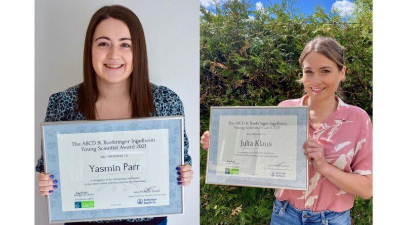 O 2021 ABCD Young Scientist Award, financiado pela Boehringer Ingelheim Animal Health, atribui o prémio a Julia Klaus e a Yasmin Parr.