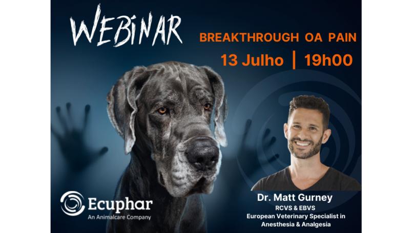 A Ecuphar/Animalcare Group está a promover um webinar europeu gratuito sobre a breakthrough pain na osteoartrite canina, no dia 13 de julho.